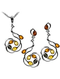 Multicolor Amber Sterling Silver Large Pendant Earrings Necklace Set 46cm
