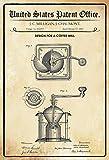 Schatzmix United States Patent Office - Design for a Coffee Mill - Entwurf für EIN Kaffee Mühle - Milligan, Chaumont, 1885 - Design No 312.493 - Blechschild
