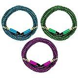 321ElectroniX® 3x 0,2m/20cm Premium Nylon AUX Audiokabel Klinke 3,5 auf Klinke 3,5 [blau + grün + pink]