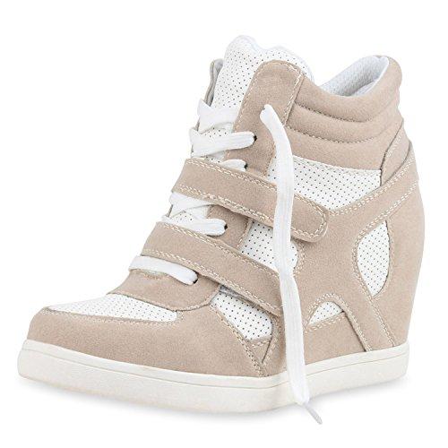 Sportliche Damen Basic Sneaker-Wedges Bequeme Sneakers Keilabsatz Creme
