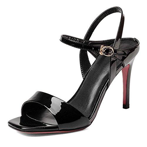 Estate rossa di cuoio alla moda fibbia Hairtail sandalo dell'alto tallone della ragazza Black