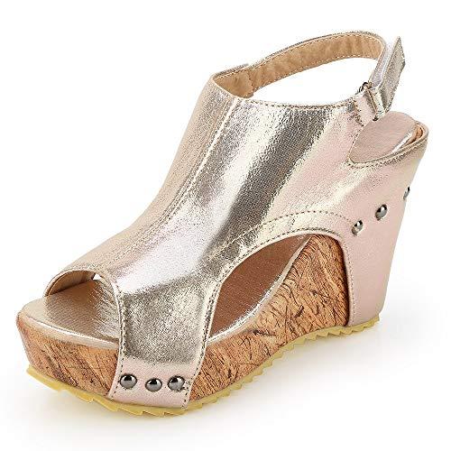 Sandali donna zeppa eleganti bassi plateau aperti romano boemia espadrillas mare gladiatore con tacco estivi scarpe flat ciabatte nero beige 34-43 gd43