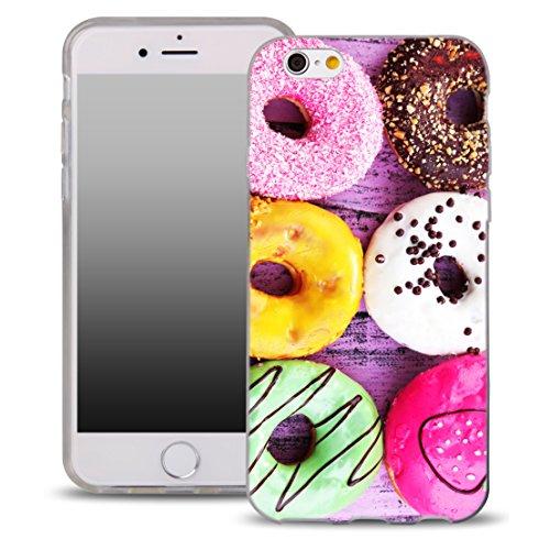 OOH!COLOR Handyhülle für IPHONE 5 und 5S, SE mit Holz MTE014 Motiv Silikon Case Flexibele Tasche Design Schutzhülle Elastisch Etui Cover OFD020 Donut