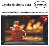 Genuss Weihnachtskarten (10er Set Motiv Schneemann) gefüllt mit Trinkschokolade und einem Geschenk von K.DESIGNS im Wert von 5 Euro