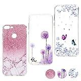 Huawei Honor 9 Lite Handyhülle, 3X TPU Gemalt Hülle Case Schale Schutzhülle handytasche Stoßdämpfung Cover, Lila Löwenzahn + Schmetterlinge + Marmor