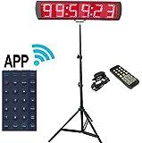 Ganxin app-control 12,7cm alto 6cifre LED Race–Timer con treppiede per running, eventi countdown/Up timer digitale, 12/ore di tempo reale orologio, cronometro a distanza