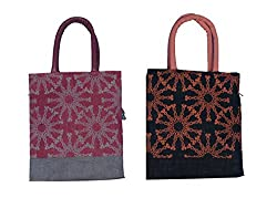 ABV Jute Lunch Bag Pack of 2 Jute Bag Black and Red Color
