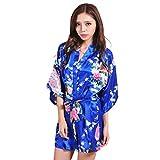 BOYANN Raso Pavone Vestaglie e Kimono Pigiami e Camicie da Notte Allattamento Donna Accappatoi, Blu Reale S