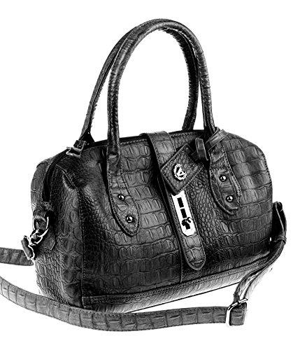 Valleverde Italy BOWLING Bag Tasche Schultertasche Handtasche Henkeltasche Leder-Optik (NERO/Schwarz)