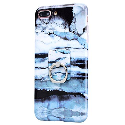 GrandEver iPhone 7 Plus Hülle Weiche Silikon mit Ring Ständer Halter Marmor Muster Handyhülle TPU Bumper Schutzhülle für iPhone 7 Plus Rückschale Klar Handytasche Anti-Kratzer Stoßdämpfung Ultra Slim  Mode