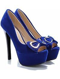 Sandalias, soporte impermeable, gamuza, zapatos de tacón, señoras sandalias de gran tamaño,blue,35