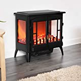 Fineway Electric Stove Heater with Log Burner Flame Effect Fire - 2000W, Black - Freestanding Fireplace with Wood Burning LED Light - Adjustable Temperature & Flame Panoramic Design With Large Window