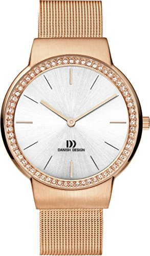 Danish Design Women's Quartz Watch with White Dial Analogue Display and Rose Gold Stainless Steel Rose Gold Plated Strap DZ120193