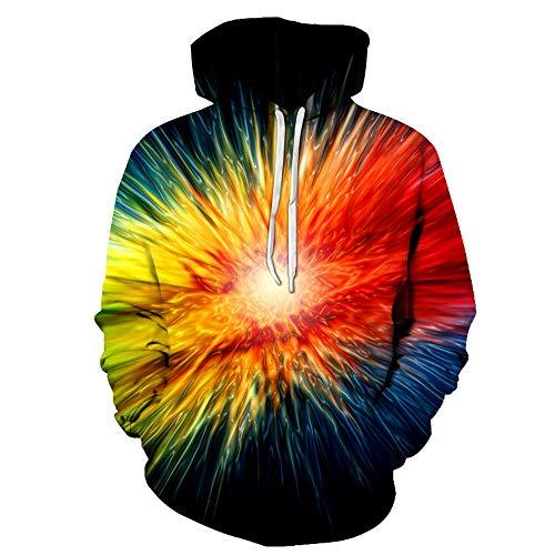 2019 Herbst Winter Herren Manner Pulloverlapuzen Langarm 3D Feuerwerk Hip Hop Gedrucked Sweatshirt Mit Kapuzen -