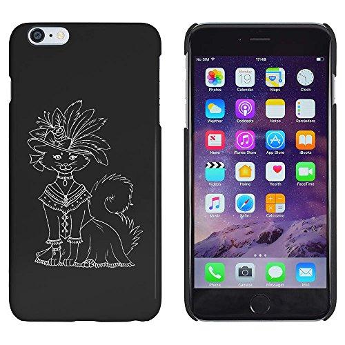 Schwarz 'Katze im Kostüm & Hut' Hülle für iPhone 6 Plus & 6s Plus (MC00108819)
