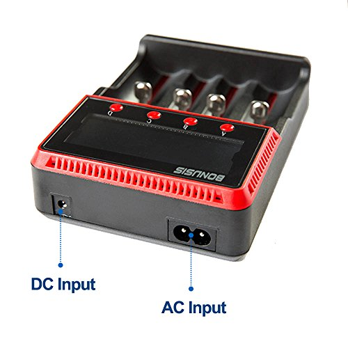 18650 Akku Ladegerät Universal 4 Bay AA AAA C Ni-MH Ni-Cd und 10440 18650 26650 Etc. Li-Ionen LiFePO4 Akku-Ladegerät mit LCD-Display H4