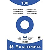 Exacompta fiches bristol blanc a4-vierge-blanc-lot de 100 fiches 10506E