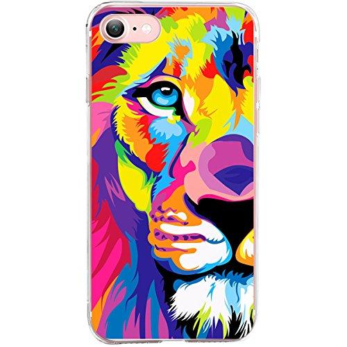 GIRLSCASES® | Hülle kompatibel für iPhone 8/7 | Fashion Case Schutzhülle im Löwen Motiv Muster | in bunt | Fashion Case transparente Schutzhülle aus Silikon