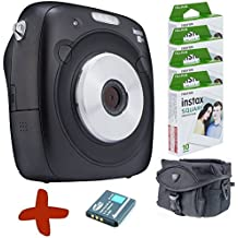 Bundle: Fuji Instax SQ10 Black Instant Film & Digital Camera Hybrid + Spare Battery + Case + 40 Shots (Take digital jpeg pictures on the SD card & Instant Print them on the spot. Capture the moment and share the fun in style).