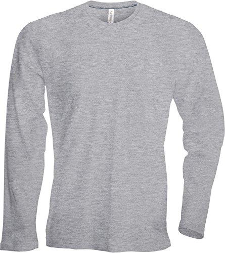 Herren T-Shirt langarm von notrash2003 (XL, Hellgrau) (Grau Langarm-shirt)