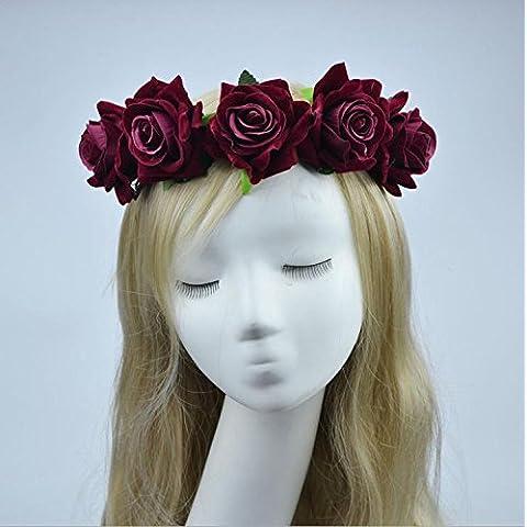 Takalao Damigella d'onore di ragazza sposa Rose Flower (8cm) copricapo corona sposa Festival Fascia Hairband floreale Garland copricapo cappelleria , wine red hair