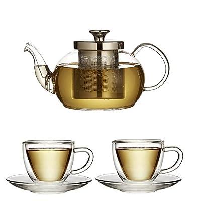 Le thé de Fabricants de Londres thé pour deux avec 700ml Théière en verre avec infuseur et a deux double paroi tasses et soucoupes