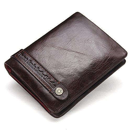 Contacts Herren echtes Leder Karten Münzenhalter Reißverschluss Tasche Kupplung Geldbörse kurze Geldbörse Dunkelbraun (Kurze Rindleder-leder-tasche)