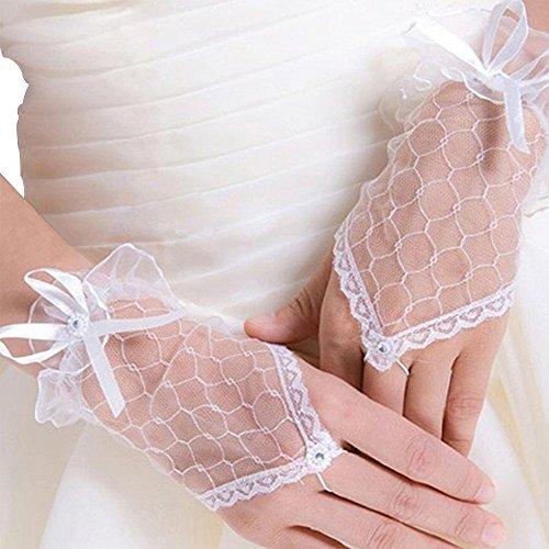 enhandschuhe Brauthandschuhe Kurz Fingerlose Handschuhe Damen Spitze Handschuhe Hochzeit Handschuhe Hochzeitsfeier Braut Zubehör Weiß (Weiße Spitze Fingerlose Handschuhe)