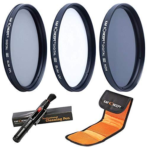 K&F Concept 40.5mm Filterset ND Filter 40.5mm ND4 Filter 40.5mm UV Filter 40.5mm CPL Filter für Canon Nikon DSLR Kamera mit Reinigungspinsel und 3 Fächer Filtertasche