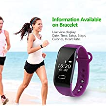 Diggro K18S - Pulsera Inteligente Reloj Smartwatch IP65 Cámara alejada Sport Cuenta Pasos, Podometro, Calorías, Distancia, Ritmo Cardiaco, Call/SMS, Recordatorio Sedentaria, para Andriod iOS (Púrpura)
