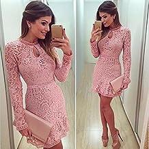 Bluestercool de noche del partido del vestido delgado de manga larga rosada de las mujeres hueco atractiva del cordón
