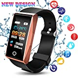 Fitness Tracker 2018 ultimo disegno colorato display Smart Watch con pressione sanguigna frequenza cardiaca monitor Bluetooth pedometro Sleep monitor Activity Tracker sport calorie Call SMS SNS ricordare per iOS Android adulti bambini, Rose Golden