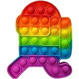 Fidget Toys Pop Push Pop Bubble, Fidget Sensory Toys for Adults Rainbow Colors Silicone Stress Reliever Toy Autism Special Ne