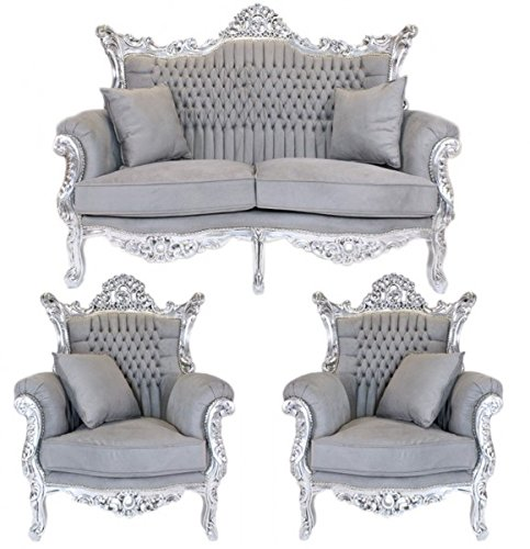 Casa Padrino Barock Wohnzimmer Set Master Grau/Silber - 2er Sofa + 2 Sessel
