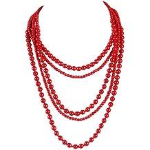 collier fantaisie perle rouge