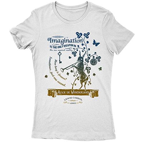 Flamentina 5016Lw Alice In Wonderland Womens T-Shirt Lewis Carroll White Rabbit Cheshire Cat Fantasy Children Adventures
