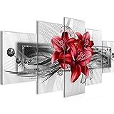 Bilder Blumen Lilien Wandbild 200 x 100 cm Vlies - Leinwand Bild XXL Format Wandbilder Wohnzimmer Wohnung Deko Kunstdrucke Rot 5 Teilig - MADE IN GERMANY - Fertig zum Aufhängen 008751c