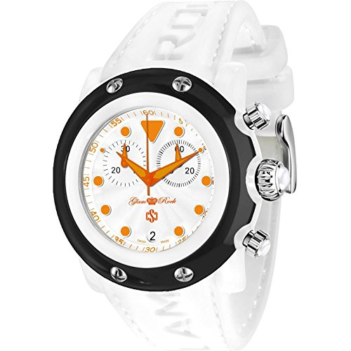 Glam Rock Unisex Miami Beach 46mm White Silicone Band Polycarbonate Case Quartz Analog Watch GR2518