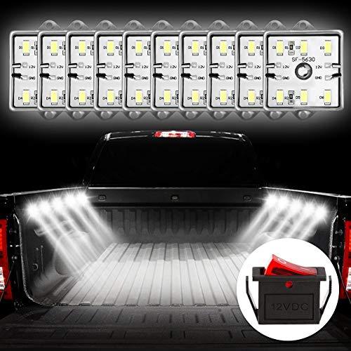 Favoto 10x6 LED DIY Licht für LKW Bett Auto Innenraum Beleuchtung mit Schalter IP67 Wasserdicht 5730 SMD LED Streifen Kits 12V für Garderobe Treppe Lager Reisezugwagen (Lkw-led-streifen)