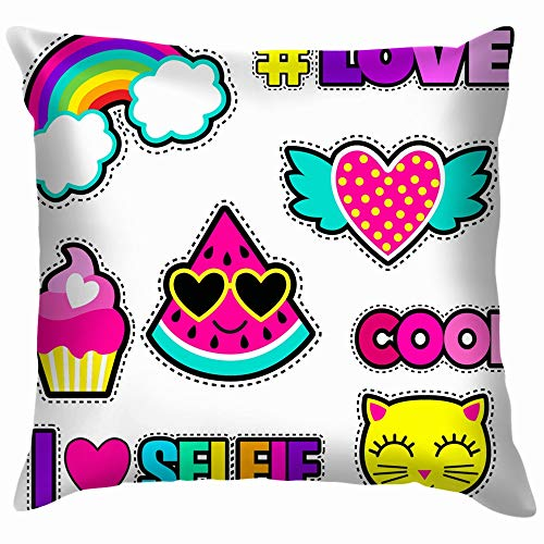 beautiful& Set Cute Stickers Different Elements Watermelon Sticker The Arts Cotton Throw Pillow Case Cushion Cover Home Office Decorative, Square 18X18 Inch (Cooles Deck Patch)