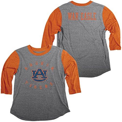 Auburn Damen T-shirt (Blue 84 NCAA Damen Baseball-T-Shirt Auburn Tigers, Tri-Blend, Größe L, Heather/Orange)