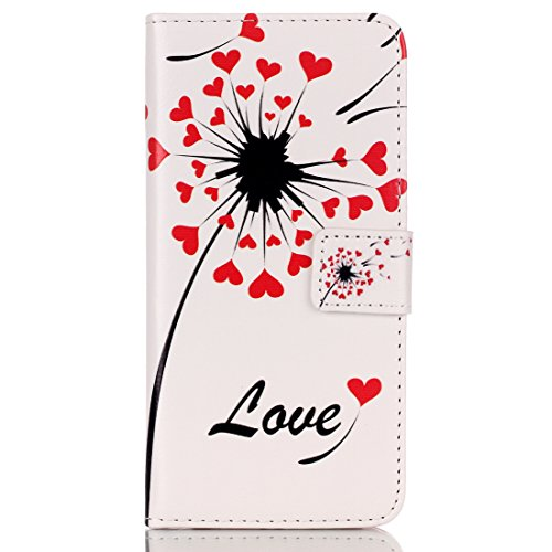 iPhone 5S Wallet Case, Felfy Ultra Slim Flip pour / Apple iPhone 5S 5 / PU Leather Cuir Portefeuille Cover Etui Housse Coque Coquille / Relief Elegant Pink Rose Fleur Pattern / 1x Pink Strass Flower A Pissenlits Love Heart