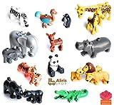 Aliris 18 Zootiere und 5 Zäune - Kompatibel mit Duplo