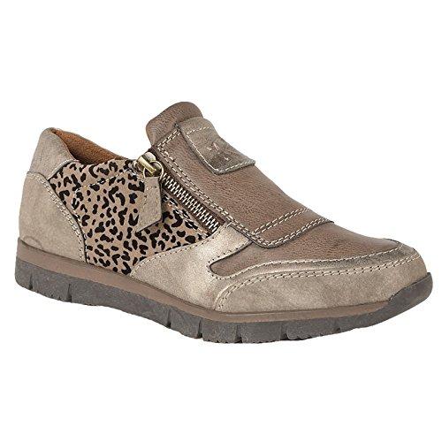 Lotus Ladies RUTO Bronze Leopard Print Side Zip Casual Shoes 50722 Sizes 4-7-UK 6 (EU 39)