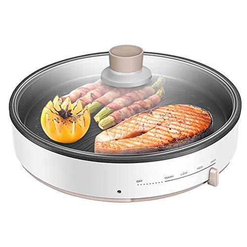 Elettrico Barbecue Coreano Griglia Piastra Teppanyaki Griglia da Tavolo con Coperchio Piatto Caldo Senza Fumo Anti-Aderente Controllo della Temperatura Regolabile per BBQ Interno Giardino 1200w