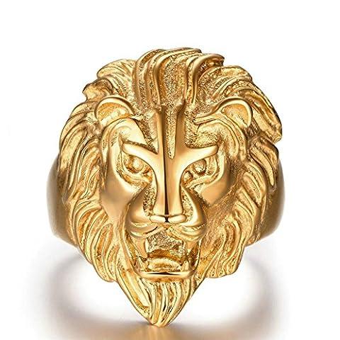AMDXD Bijoux En acier Inoxydable Hommes Or Gothique Bagues Figure de tête de Lion Féroce Taille 64