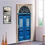 Svsnm 3D by Murals Kunst Aufkleber Blauer Grill Eisentor Abnehmbare Selbstklebende PVC Aufkleber Wandtattoo Wasserdichte Tür Aufkleber 77X200 cm