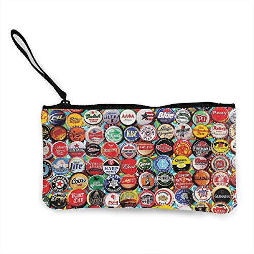 TTmom Damen Leinwand Geldbörse Portemonnaie Geldbeutel, World Beer Bottle Caps Set Wallets for Women Card Holder Zipper Purse Phone Clutch Wallet Wristlet with Wrist Strap (Hd-cap-karte)