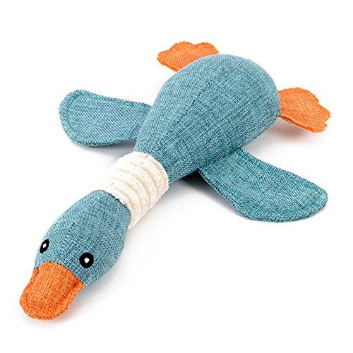 TFENG Hundespielzeug aus Plüsch, Soft Quietschen Squeaker Spielzeug Hund, Interaktives Training Kauspielzeug für Welpen Haustier (Blau, L)