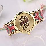 HUIHUI Uhren Damen, Geflochten Armbanduhren Günstige Uhren Wasserdicht Casual Elefant Muster gewebt Seil Band Armband Quarzuhr Coole Uhren Lederarmband Mädchen Frau Uhr (Schwarz) Vergleich